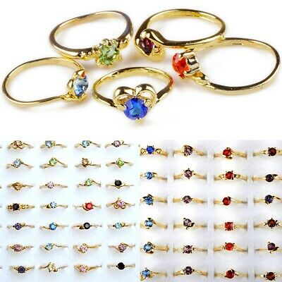 $ CDN15.47 • Buy Wholesale Lots 50pcs Lady's Rings Mixed Fashion Rhinestone Rings Gold P Jewelry