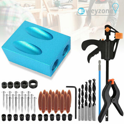 £10.99 • Buy 57x Woodworking Pocket Hole Screw Jig Kit Guide Drill Angle Locator Hole Puncher
