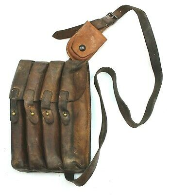 £18.99 • Buy VINTAGE SERBIAN ARMY LEATHER AMMO MAGAZINE POUCH / SHOULDER BAG (no6)