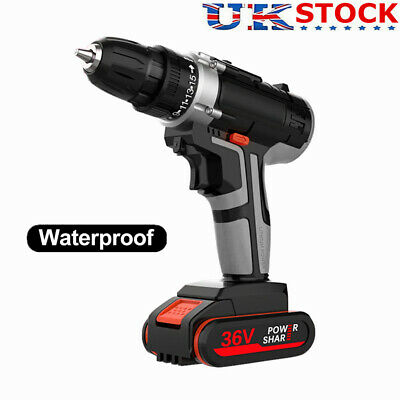 View Details 36V Cordless Combi Hammer Impact Drill Driver Electric Screwdriver & 2 Battery • 33.99£