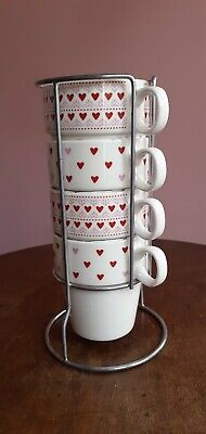 £7.99 • Buy Set Of 4 Mugs Ceramic Stackable Mugs And Stand Drinking Cup Tea Coffee Stack Mug