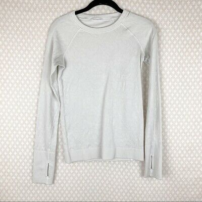 $ CDN60.65 • Buy Lululemon Women Top Sz 4 White Floral Embroidered Rest Less Long Sleeve Workout