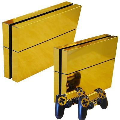 AU15.90 • Buy Gold PS4 Playstation 4 Skin Wrap Sticker Decal Covers Console & 2Controller Set