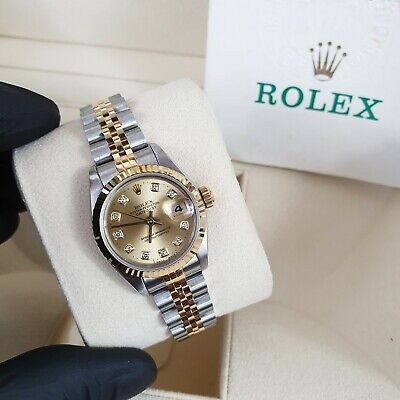 $ CDN6809.79 • Buy Ladies Rolex Datejust In Steel & 18ct Gold With Factory Champagne Diamond Dial.