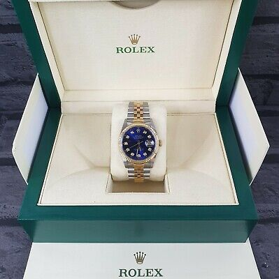 $ CDN7659.17 • Buy Mens Steel & Gold Rolex Datejust With 'Submariner' Blue Diamond Dial - Rolex Box