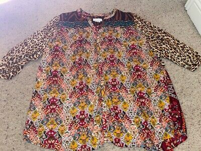 $ CDN36.38 • Buy New Anthropologie Floral Leopard Multi Colored Blouse Top Shirt Size Xl
