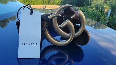 AU158.39 • Buy Gucci Belt Brown Leather Marmont Gold GG Buckle Size 75 Fits 24-26
