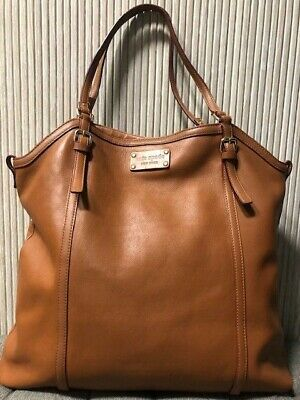 $ CDN121.32 • Buy Authentic Kate Spade Brown Leather Tote Shoulder Bag Large