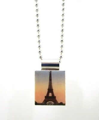 £7.09 • Buy Eiffel Tower Pendant Necklace On Scrabble Tile ~ 1 L With 30  Ball Chain ~ New