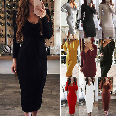 AU21.79 • Buy Women Long Sleeve Winter Knitted V-Neck Jumper Sweater Bodycon Long Maxi Dresses