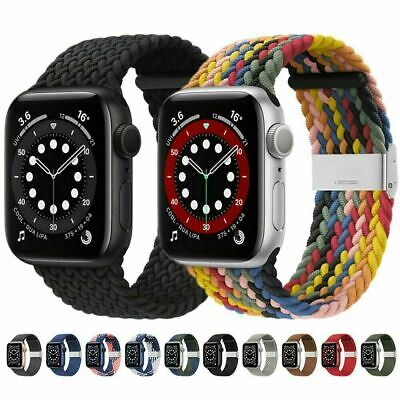 AU7.71 • Buy For Apple Watch Series 6 SE 5 4 3 42/40/44 MM Nylon Braided Solo Loop Strap Band