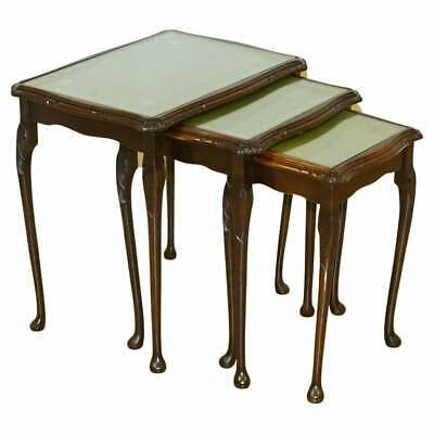 $552.03 • Buy Mahogany Nest Of Tables Queen Anne Style Legs With Green Embossed Leather Top