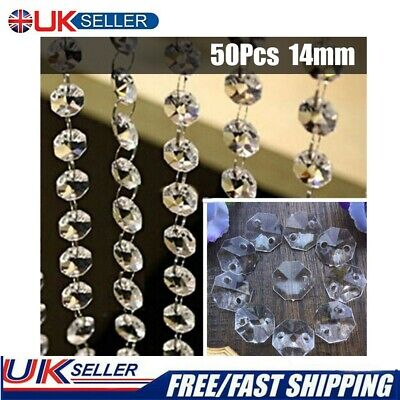 £6.23 • Buy 50xClear Cut Glass Crystals Beads Chandelier Spare Light Parts Bling Drops Kits