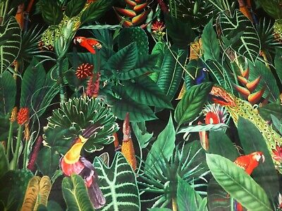 £16.95 • Buy Rainforest Tropical Printed Velvet Fabric Curtains Cushions Furnishings In BLACK
