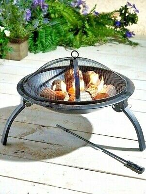 £22 • Buy Classic Round Fire Pit With Lid Outdoor Garden Patio Heater Camping - Brand New