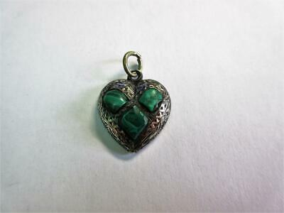 £2.50 • Buy Antique Edwardian SOLID SILVER & MALACHITE Heart Design PENDANT, CHARM!