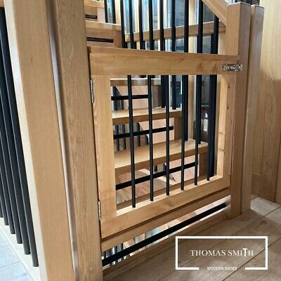 £349.99 • Buy (Made To Measure) Bespoke Wood & Iron Spindle Stair Pet Baby Gate & Fitting Kit