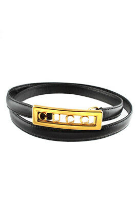AU84.99 • Buy Gucci Womens Leather Skinny Belt Gold Tone Buckle Black Size 28