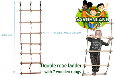 £34.99 • Buy Large Double Rope Ladder With 7 Wooden Rungs For Climbing Frames Treehouse
