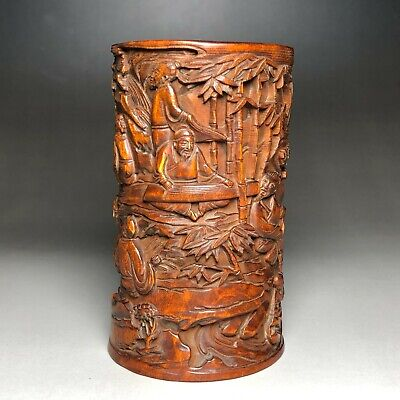 £34.99 • Buy Collectible Old Vintage Boxwood Carved Japanese Figure Calligraphy Big Brush Pot