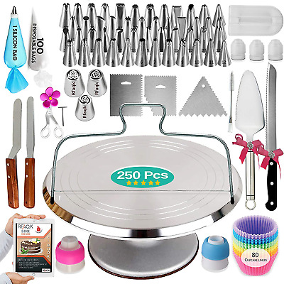 £39.83 • Buy 250PCs Cake Decorating Tools Kit With Aluminum Metal Turntable-Rotating Stand