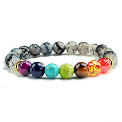 AU6.42 • Buy 7 Chakra Healing Balance Beaded Lava Bracelet Yoga Reiki Prayer Natural Stone