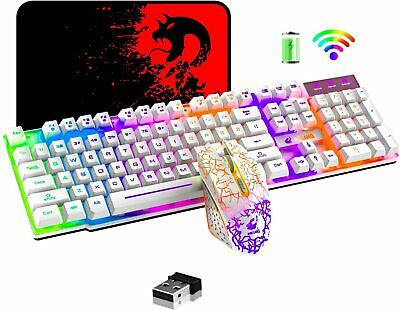 AU58.18 • Buy Wireless Rechargeable Gaming Keyboard Mouse And Pad Combo Rainbow LED Backlit AU