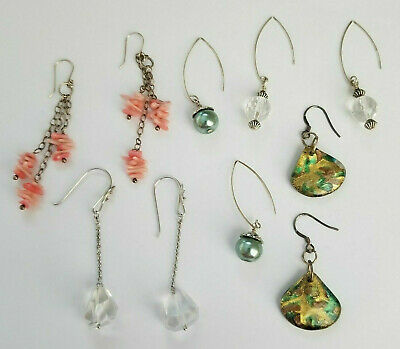 $ CDN8.47 • Buy Lot 5 Vintage Now Sterling Silver Earring Lot Drop Dangle Glass Dichroic Crystal