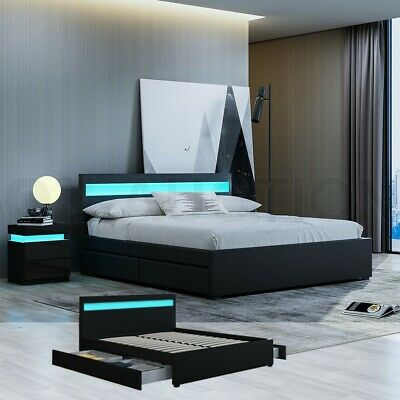 AU349.95 • Buy New Double Size LED Wooden Bed Frame PU Leather 4 Drawers Storage Bed Base Black