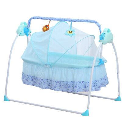 £90 • Buy Electric Baby Rocker Swing Rocking Crib Outdoor Cot Bed Infant Cradle Blue