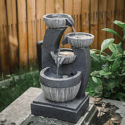 £59.95 • Buy Garden Water Feature Fountain LED Lights Outdoor Statues Solar /Electric Powered