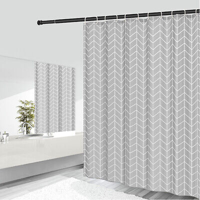 £8.95 • Buy Grey Shower Curtain With Free Hooks Waterproof Polyester Fabric Bathroom Curtain