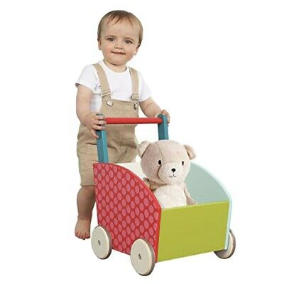 £29.99 • Buy Kids Wooden Activity Push Along Walker Toy Baby Learn To Stand Mobility Pull Box