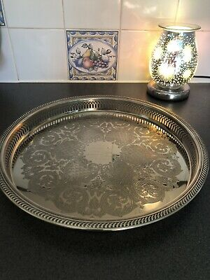 £20 • Buy Vintage Silver Plated Engraved Gallery Drinks Serving Tray Presented By Marconi