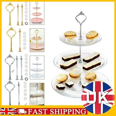 £0.99 • Buy 2/3Tier Plastic Cake Stand Afternoon Tea Wedding Plates Party Embossed Tableware