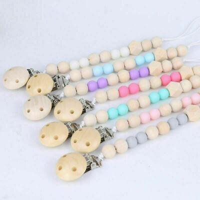 £2.99 • Buy Natural Wooden Silicone Beads Safe Pacifier Chain Clip Baby Dummy Soother Holder