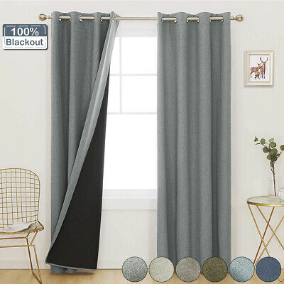 £12.85 • Buy Thick Thermal Blackout Ready Made Eyelet Ring Top Curtains Drapes Living Room