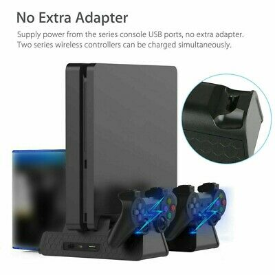 AU36.93 • Buy For PS4 Pro Slim Vertical Stand+Cooling Fan Game Holder Charger Charging Dock MN