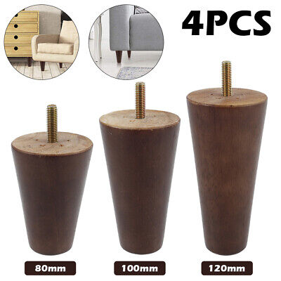 AU20.99 • Buy 4 PCS Wooden Furniture Legs + Pads Turned Feet Lounge Couch Sofa Cabinet