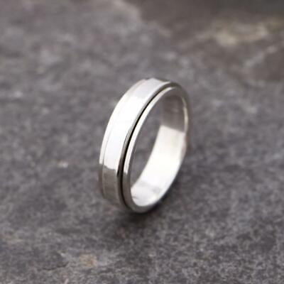 £16.95 • Buy Mens Women's Plain 925 Sterling Silver Spinning Worry Band Ring 5mm Thumb Ring