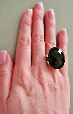 $ CDN34.60 • Buy *stunnng* Black Agate Huge Statement Ring Sterling Silver Large Size Q Usa 8 Qvc