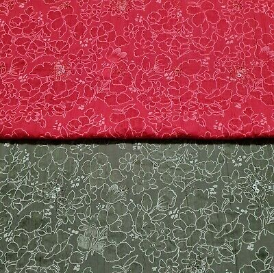 £4.29 • Buy Polycotton Burnout Fabric Floral Printed Sequin Embroidered Crinkled 53  Wide