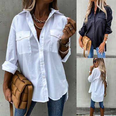 £11.95 • Buy Women Baggy Shirt Button Up Long Sleeve Ladies Casual Loose Plain Blouse Tops