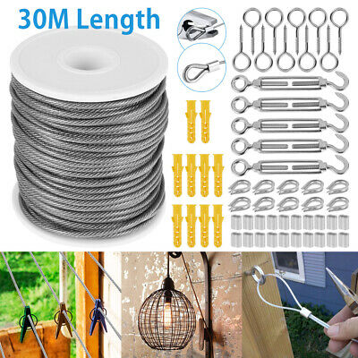 £17.69 • Buy 30M 2mm Convenient Stainless Steel Wire Rope Cable Hooks Hanging Kit Tent RopeAN