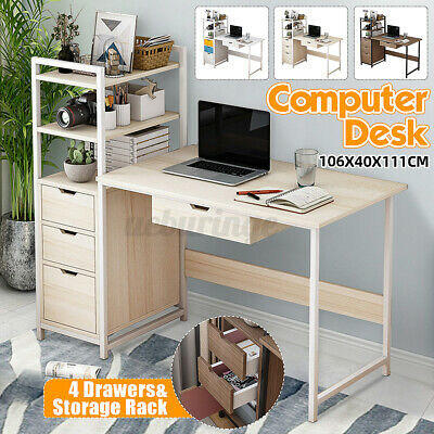 AU85.98 • Buy Computer Desk 4 Tiers Storage Rack Table Home Office Study Student Workstation