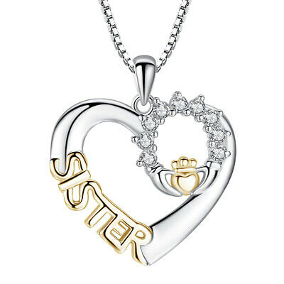 £4.84 • Buy Crystal Heart Pendant Sterling Silver Chain Necklace Womens Jewellery Gift LI