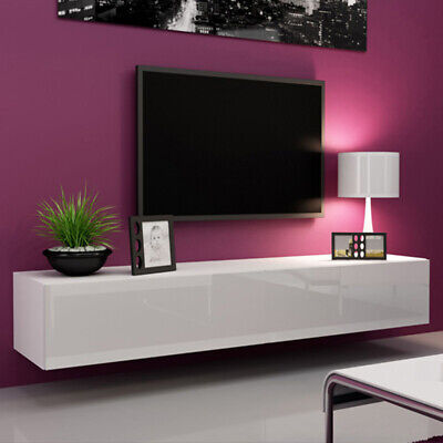 £69 • Buy Home Modern Wall Mounted TV Cabinet Display White TV Stand Unit Living Room