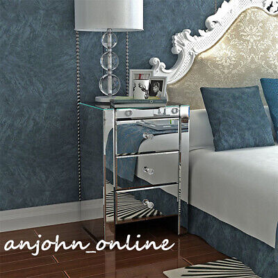 £99 • Buy Venetian Clear Mirrored Bedside Table Nightstand Glass Cabinet 3 Drawers Unit