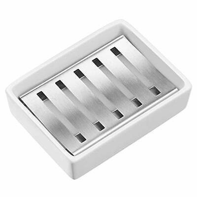 £10.99 • Buy Ceramic Soap Dish Holder Ceramic Soap Tray With Stainless Steel Soap