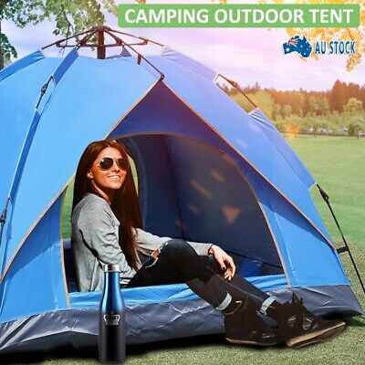 AU35.99 • Buy 3-4 Man Person Pop Up Dome Tent Family Festival Camping Auto Beach Sun Shelter